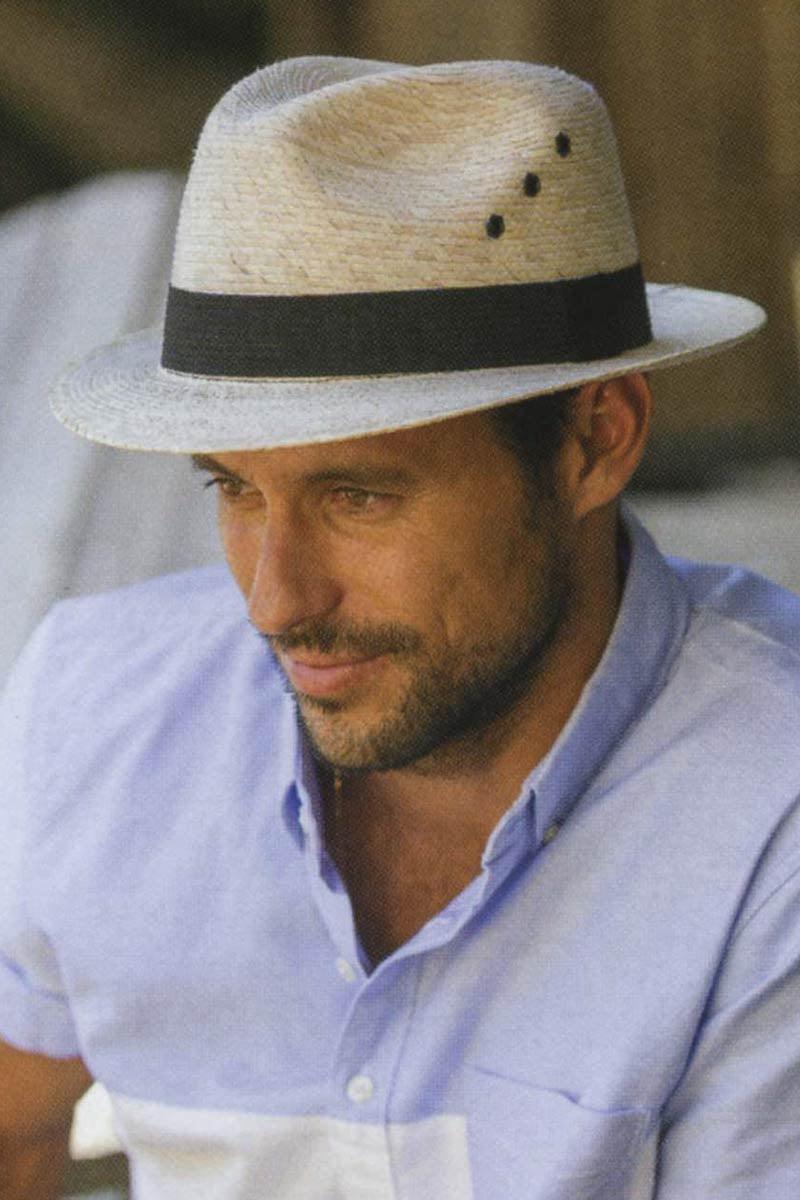fecff275972 Mens 2 Inch Brimmed Straw Fedora Hat