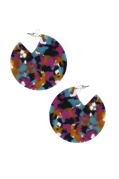 Confetti Lucite Hoops | Hypoallergenic Statement Earrings |
