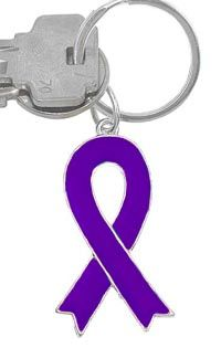 Purple Ribbon Keychain