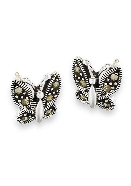 Sterling Silver Butterfly Stud Earrings | Marcasite Stones