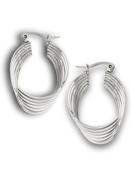 Stainless Steel Fancy Multi Twist Hoop Earrings - Hypoallergenic |