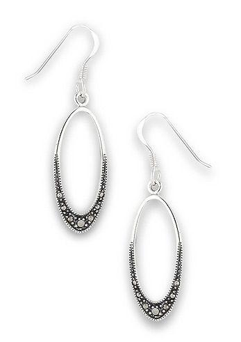 Marcasite Ovals | Sterling Silver Earrings |