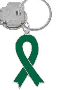 Green Ribbon Charm Keychain