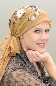 Embroidered Monaco Head Scarf - Triangle Headscarf