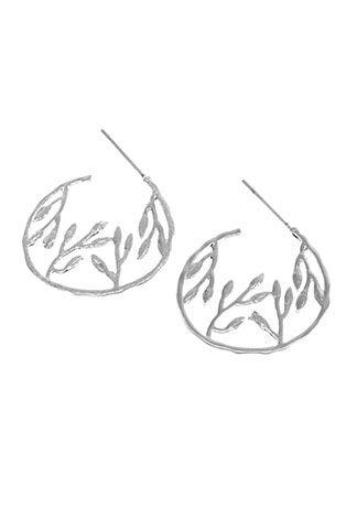 Rhodium Branch Hoop Earrings | Nickel & Lead Free Earrings |