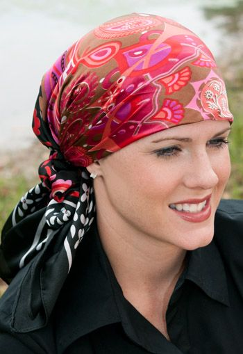 Printed Satin Head Scarf with Matching Scrunchie