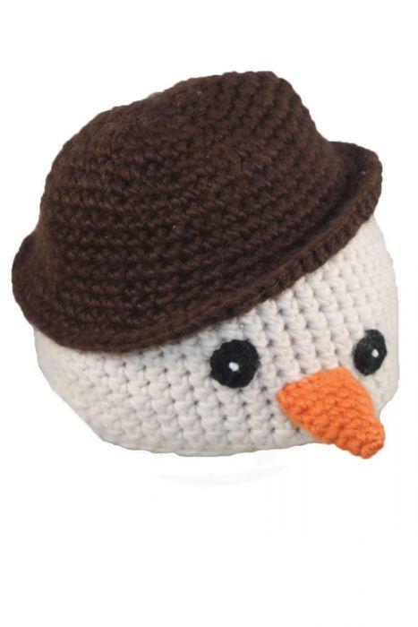 Crocheted Snowman Beanie for Kids
