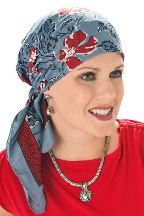 Perugia Floral   100% Cotton Woodblock Hand Stamped Head Scarves