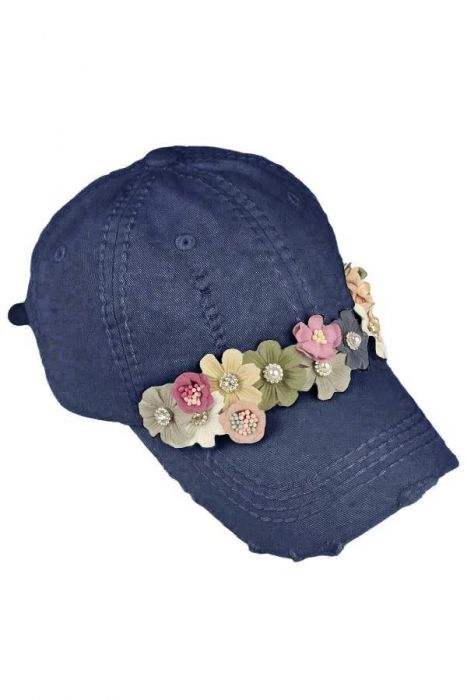 3D Embellished Flower Baseball Cap