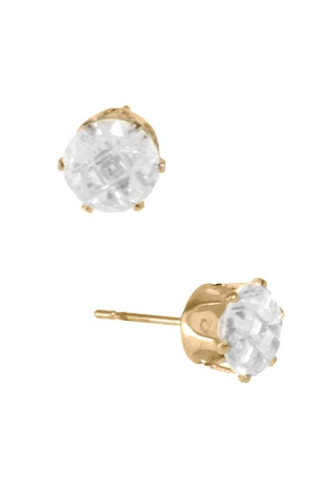 7mm Earrings | Round Cubic Zirconia Gold Tone Studs | Nickel & Lead Free |