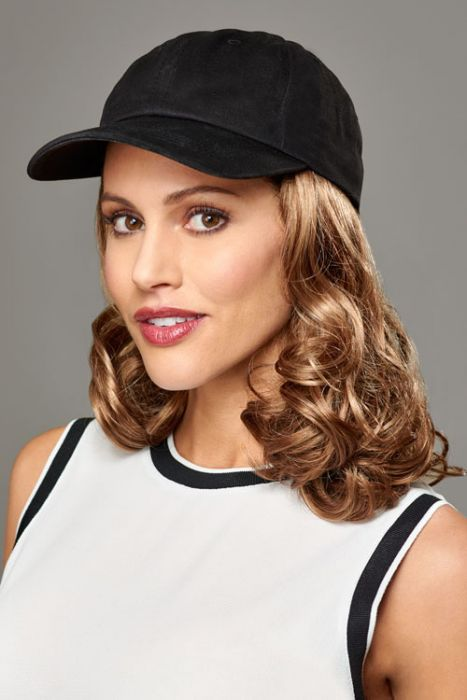 Baseball Cap with Hair: 8249 Curly Hat Black