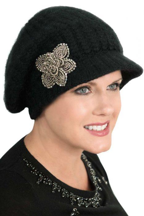 Angora Sparkle Newsboy Hat - Brimmed Winter Slouchy Beanie for Women