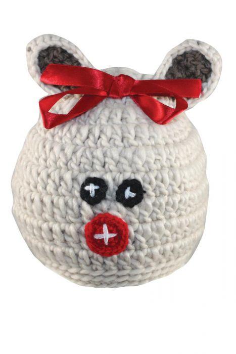 Reindeer Bow Beanie for Girls