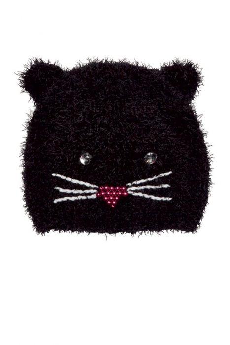 Fuzzy Jeweled Kitty Beanie for Kids