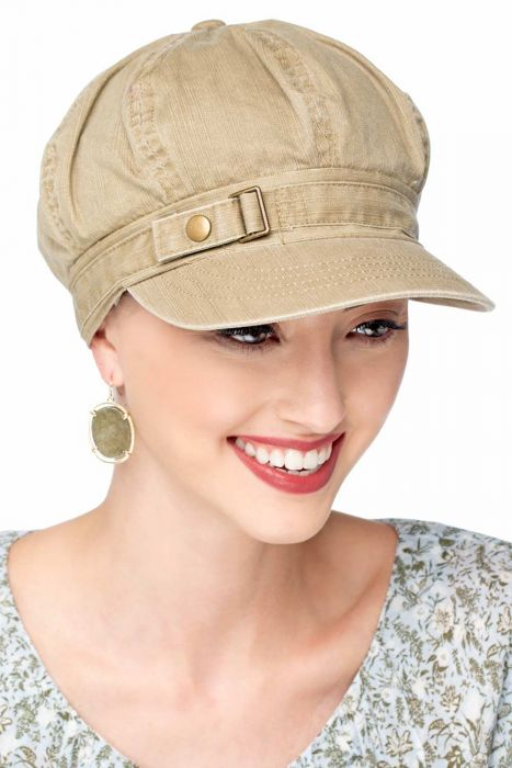 Buckle Newsboy Hat | Womens Distressed Cotton Ball Cap |