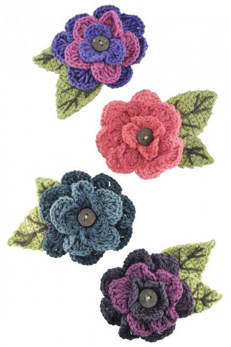 Hand Crocheted Cotton Button Flower Pins - Hat Pins