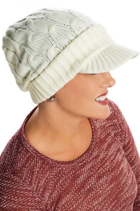 Cableknit Brimmed Slouchy Beanie Cap