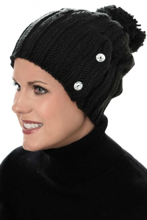 Button Cableknit Pom Pom Beanie Hat - Winter Beanies for Women