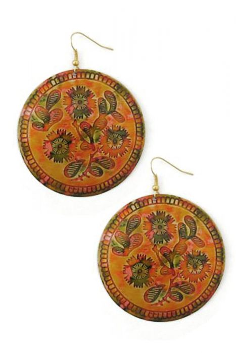 Cactus Flower Enamel Disc Earrings | Nickel Free & Hypoallergenic Earrings |