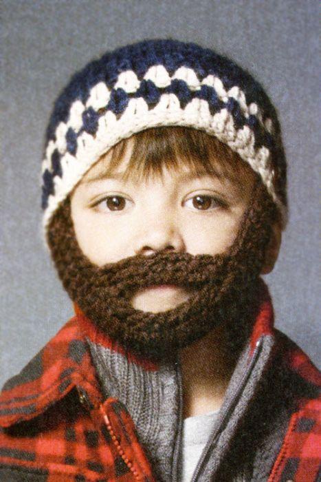 Boys Crochet Beanie with Detachable Beard