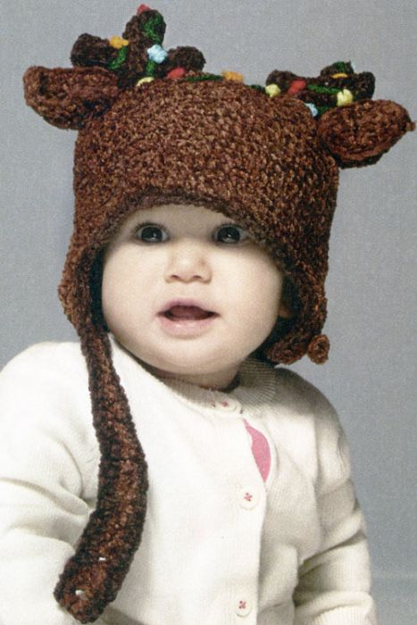 Crochet Reindeer Christmas Hat for Children with Antlers