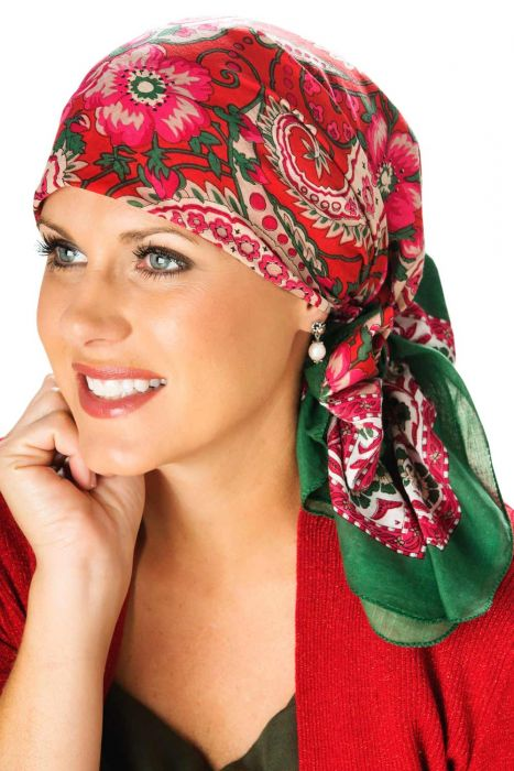 Noelle Paisley Woodblock Head Scarf | Hand Stamped Headscarf