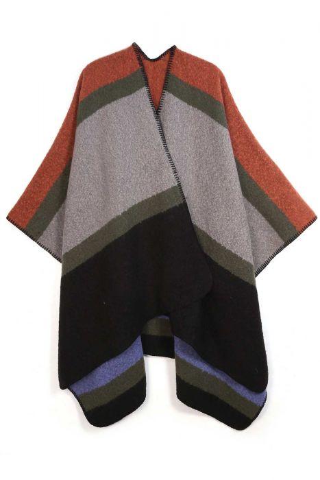 Color Block Cuddle Ruana   Snuggly Blanket Scarf Wrap