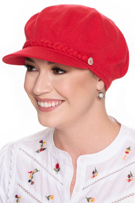 Cotton Knit Braid & Button Newsboy Hat   All Cotton Hats for Women