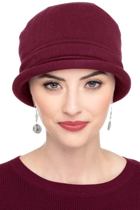 Cotton Roller Hat  in Burgundy| All Cotton Hats for Women Burgundy
