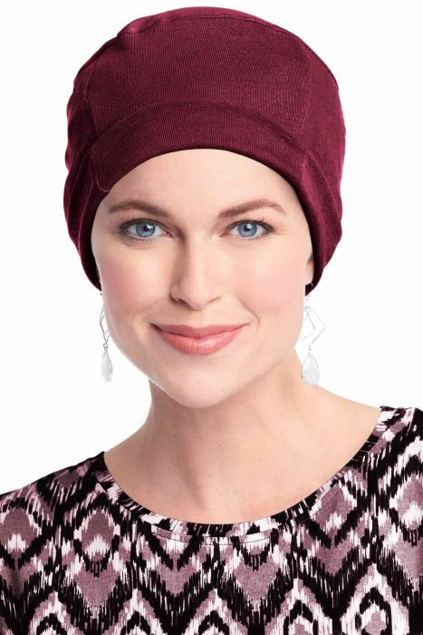 Cozy Cap in Burgundy Wine | Soft All Cotton Hats For Women Burgundy Wine