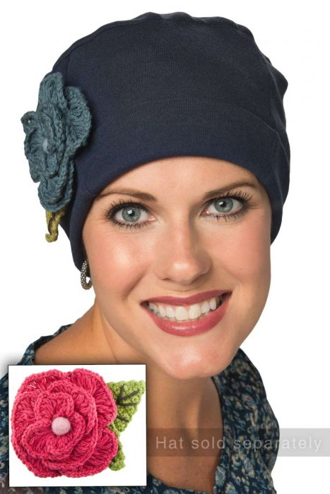 Hand Crocheted Pom Pom Flower Pin - Hat and Headwear Accessory