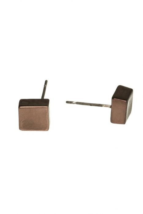 Dark Bronze Cube Stud Earrings For Men & Women | Nickel & Lead Free Earrings |