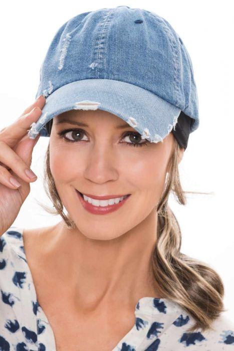 Distressed Denim Baseball Cap | Baseball Caps for Women |