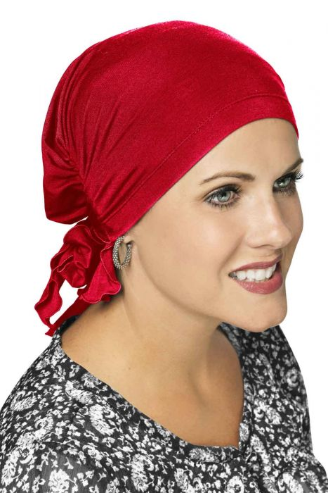 Easy On Pre Tied Head Scarf | Cardani Bamboo Viscose Ready Tie Scarves Luxury Bamboo - Salsa Luxury Bamboo - Salsa