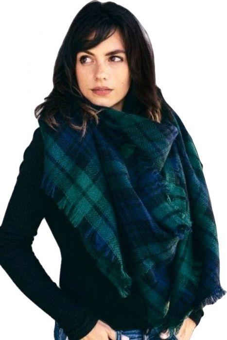 Classic Plaid Blanket Scarf & Wrap