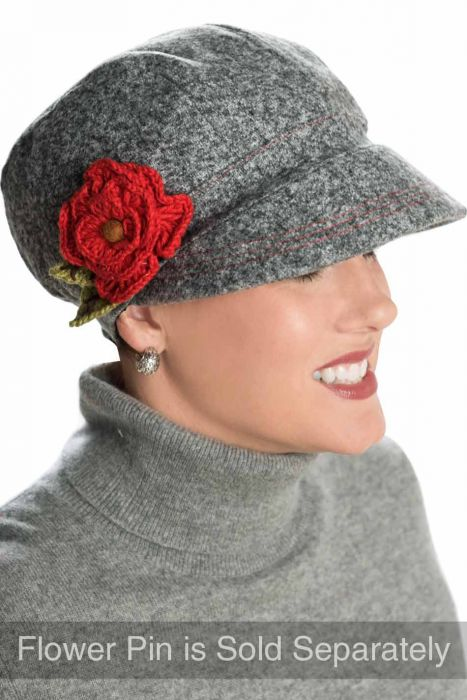 Winter Embellishment Newsboy Hat - Flower Pins Sold Separately