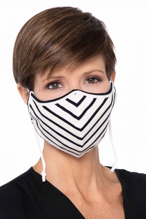 Clearance Colors   Bamboo Face Mask with Filter Pocket   Black and White Stripes   Luxury Bamboo - Black and White Stripes