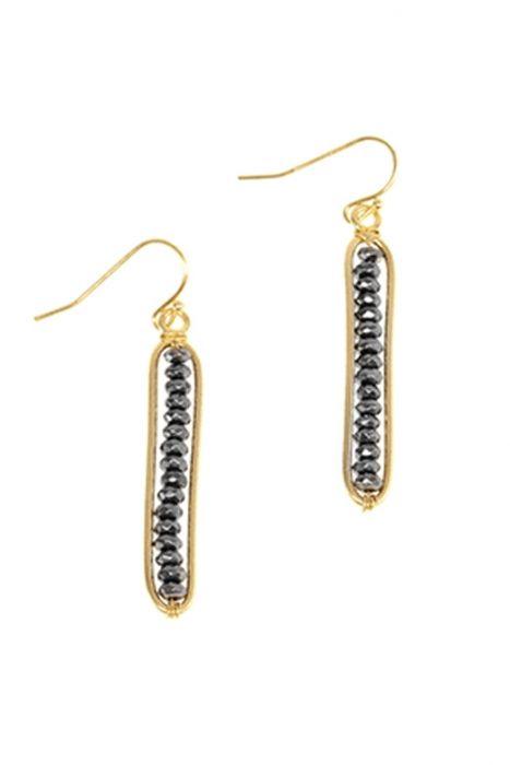 Faceted Hematite Skinny Drop Earrings | Gold Tone Nickel & Lead Free Earrings