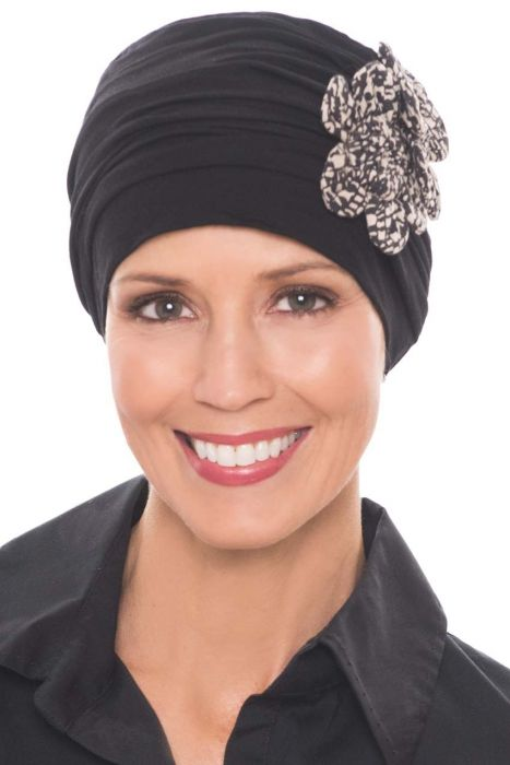 Flapper Turban | Vintage Flapper Hat in Soft Viscose from Bamboo by Cardani | Black w/ Mini Mosaic
