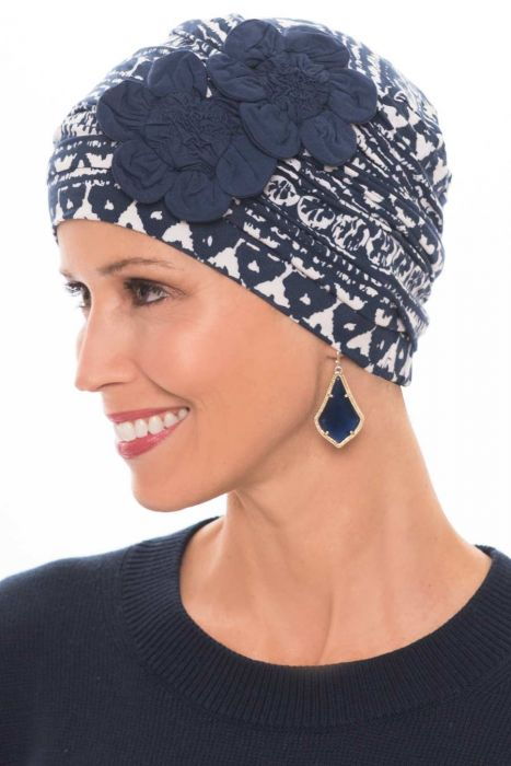 Flapper Turban | Vintage Flapper Hat in Soft Viscose from Bamboo by Cardani | Navy Batik w/ Navy