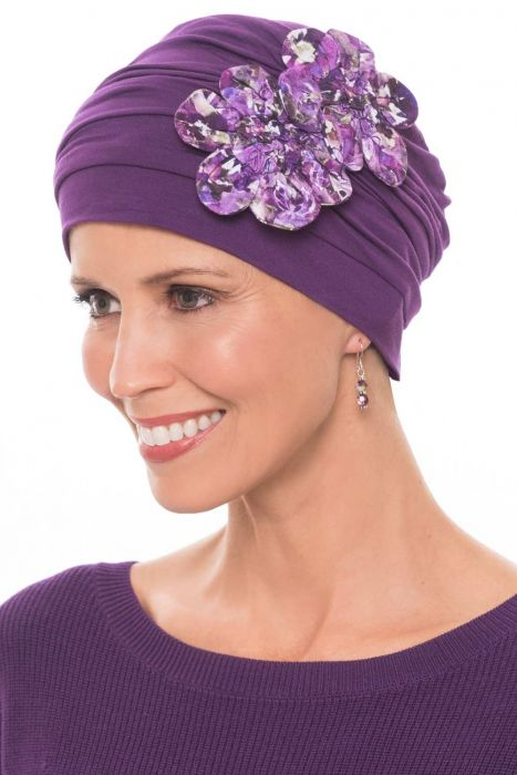 Flapper Turban | Vintage Flapper Hat in Soft Viscose from Bamboo by Cardani | Plum w/ Enchanted Garden