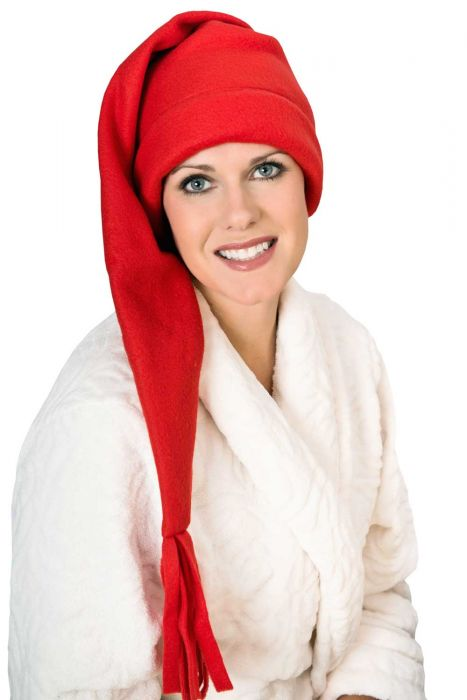 Elf Sleep Cap - Fleece Stocking Sleeping Hat for Men or Women