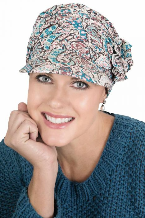 Florette Newsboy Hat in Luxury Bamboo by Cardani® in Multi Paisley Luxury Bamboo - Multi Paisley Luxury Bamboo - Multi Paisley