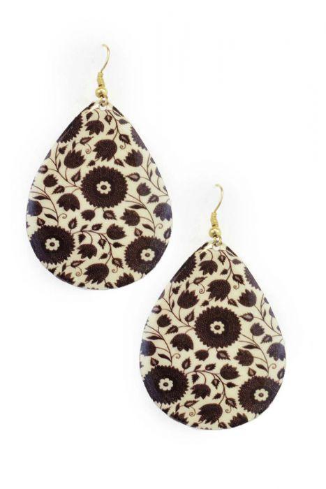 Folk Floral Enamel Teardrop Earrings   Nickel Free Hypoallergenic Earrings  