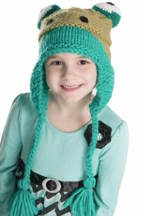 Knitted Frog Trapper Hat for Kids |