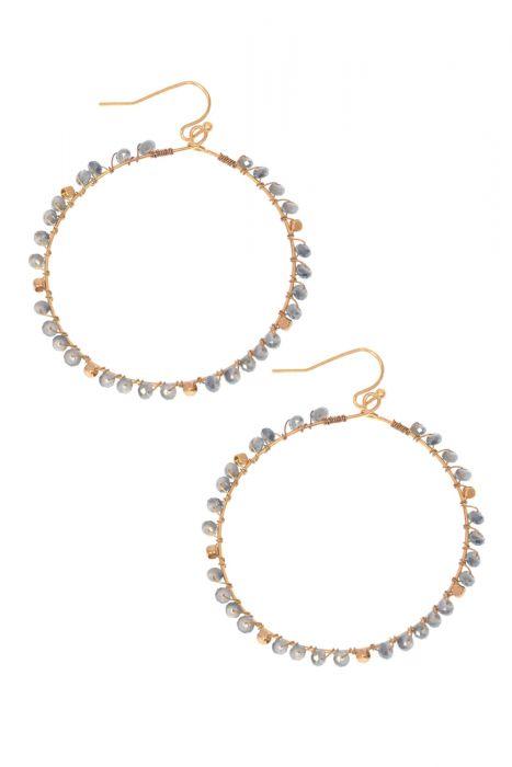 Gold & Sky Blue Beaded Hoop Earrings | Nickel Free & Hypoallergenic Earrings |
