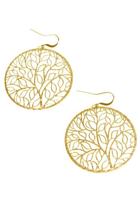 Gold Tone Ivy Vine Circle Earrings   Nickel & Lead Free Gold Tone Earrings