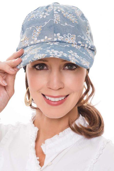 Golden Butterflies Denim Baseball Cap | Baseball Hats for Women |