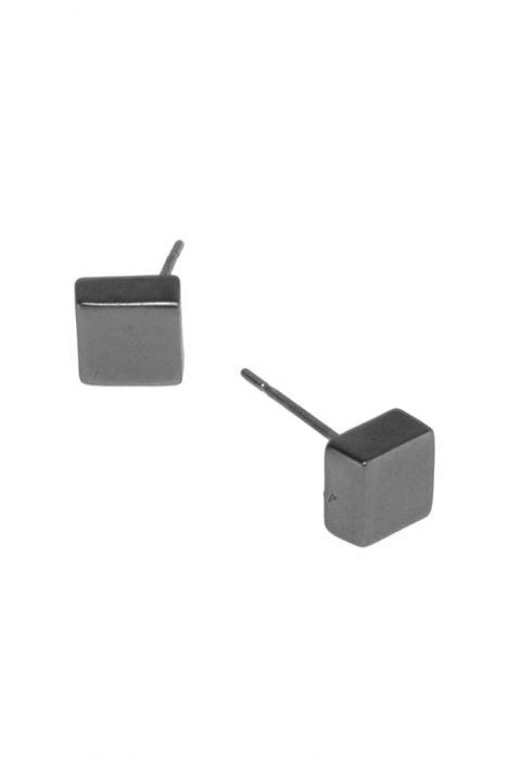 Gunmetal Cube Stud Earrings For Men & Women   Nickel & Lead Free Earrings