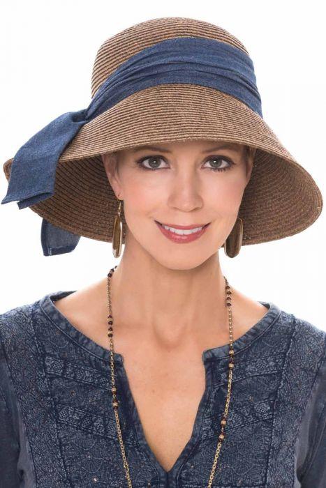 Harper Sun Hat with Denim Sash | UPF 50+